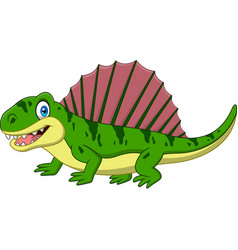 cartoon smiling dimetrodon isolated vector image