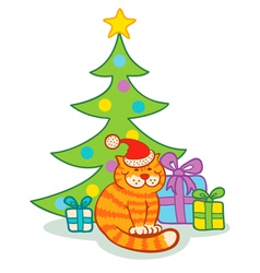 Cat and christmas tree vector