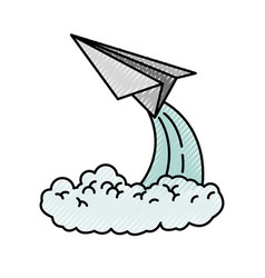 Colored crayon silhouette of paper plane launch vector
