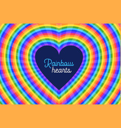 Colorful rainbow hearts design background vector