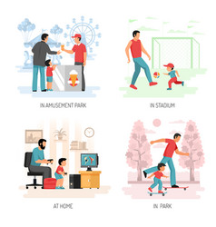 dad child flat concept design vector image