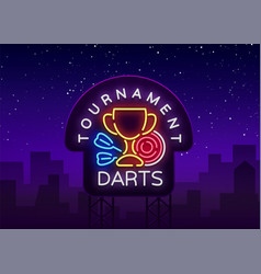 darts tournament neon sign vector image