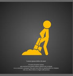 digging man icon simple gardening element symbol vector image
