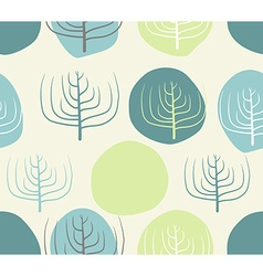 Dry branches and circles seamless patettrn retro vector image