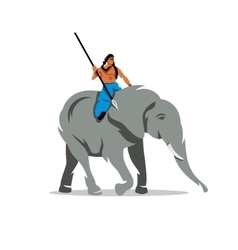 Elephant with mahout Cartoon vector image