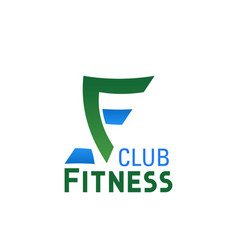 f letter icon for fitness club vector image