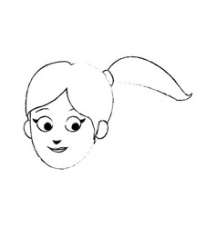 Face of young pretty woman cartoon icon image vector