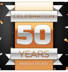 Fifty years anniversary celebration golden and vector image