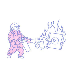 fireman extinguishing burning video player online vector image