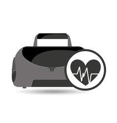 Fitness sport bag icon heart vector