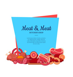 flat meat and sausages icons isolated vector image