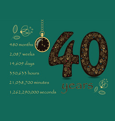 floral card with number fourty and pocket watch vector image