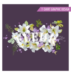 Floral Lily Shabby Chic Graphic Design vector