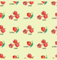 Goji berries guarana seamless pattern background vector
