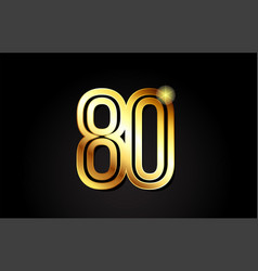 Gold number 80 logo icon design vector