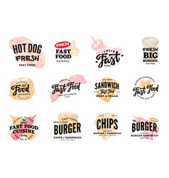 Hand drawn fast food logotypes set vector