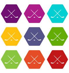 Hockey icon set color hexahedron vector