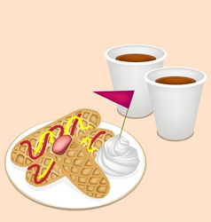 Hot Coffee in Disposable Cup with Hot Dog Waffles vector image