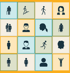 Human icons set collection of female user vector