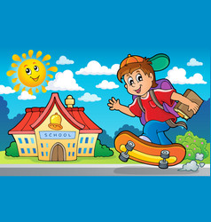 image with school boy theme 2 vector image