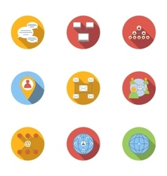 Internet icons set flat style vector