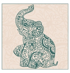 Invitation vintage card with elephant vector image