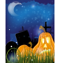 Jack o lanterns on a cemetery vector image