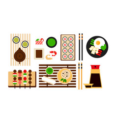 Japanese food dishes set traditional asian food vector