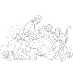Jesus preaching to group people coloring page vector