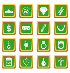 Jewelry items icons set green vector