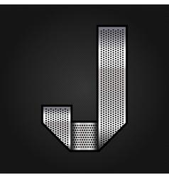 Letter metal chrome ribbon - j vector