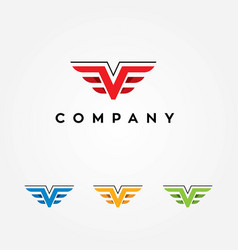 Letter v logo with wings vector