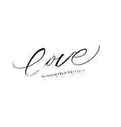 Love grunge ruling pen modern calligraphy design vector