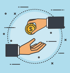 make a donation sign hand giving coin money vector image