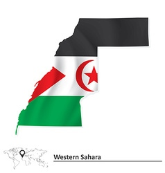 Map of Western Sahara with flag vector