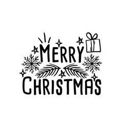 merry christmas lettering typographic card vector image