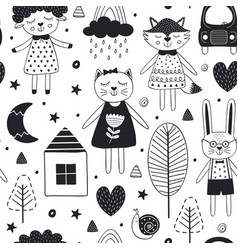 Monochrome seamless pattern with cute animals vector