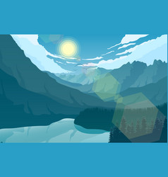 mountain landscape with and lake at sunrise vector image