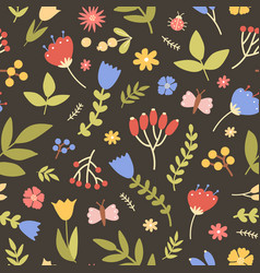 natural seamless pattern with wild blooming plants vector image