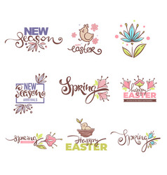 new season arrivals easter logo spring sympols vector image
