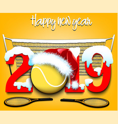 New year numbers 2019 and tennis ball vector