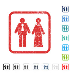 newlyweds icon rubber watermark vector image