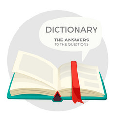 open dictionary book with all answers to questions vector image