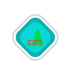Paper sticker on white background fir-tree fence vector