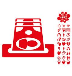 Payment terminal icon with valentine bonus vector