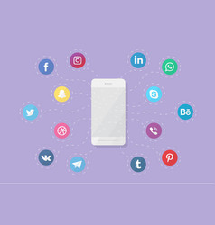 phone with social media logos vector image