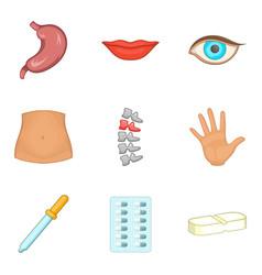 Physical body icons set cartoon style vector