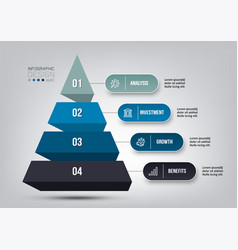 Pyramid 4 step process work flow infographic vector
