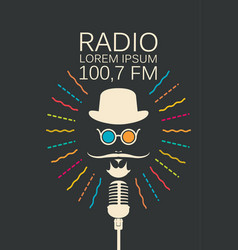 radio banner with microphone and man face vector image