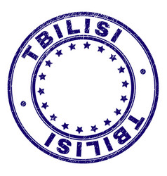 Scratched textured tbilisi round stamp seal vector